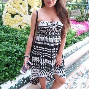 EUC Black and white tribal high low dress 👗
